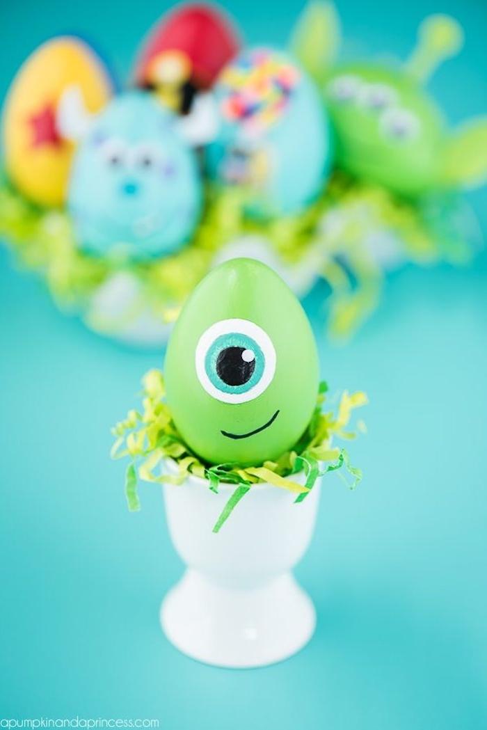 Disney Ostereier selber machen, Monster Osterei, Ostereier kreativ mit Kindern färben