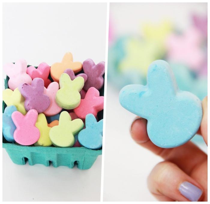 ostergeschenke basteln, kleine geschenke für die kinder, kreiden hasen, ostern ideen