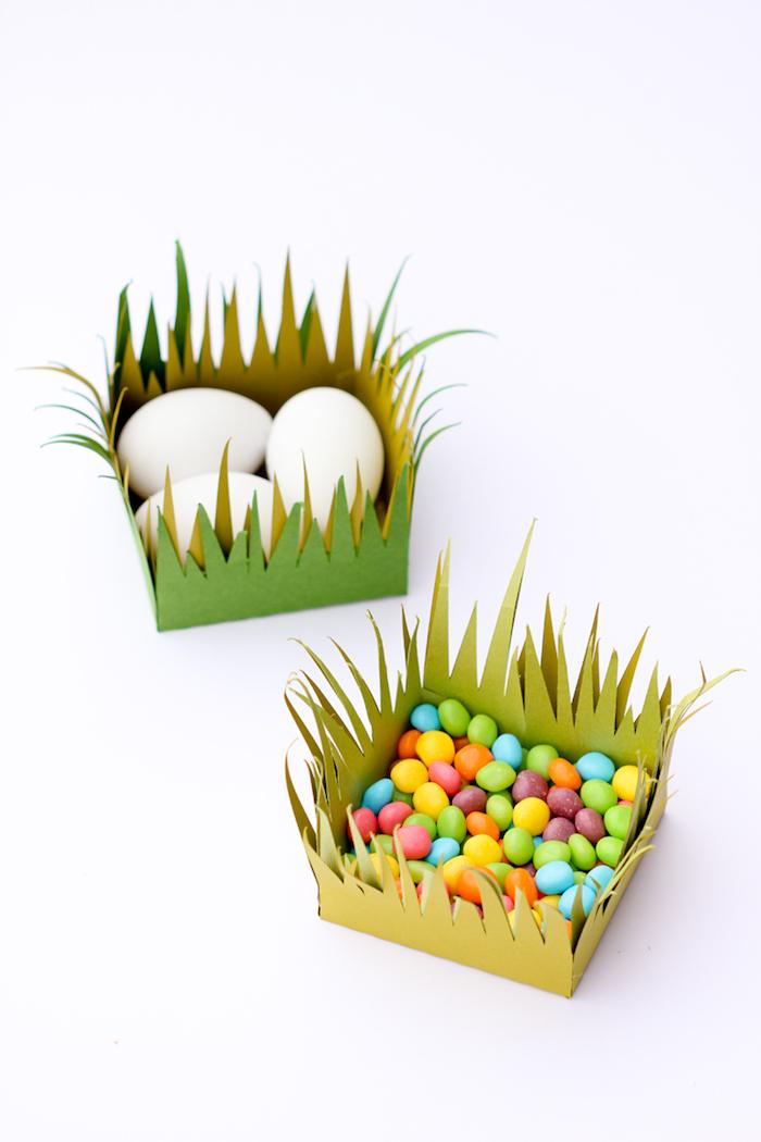 Osterkörbchen aus Filz selber machen, mit Ostereiern oder kleinen Süßigkeiten füllen