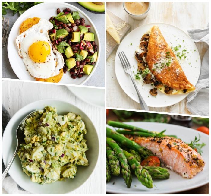 rezepte zum abnehmen, gebratenes ei mit salat aus avoado und bohnen, lachs mit spargeln