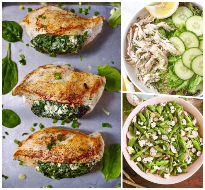 hühnerbrust gefüllt mit spinat und mozzarella, rezepte zum abnehmen, gesund essen, grüne bohnen