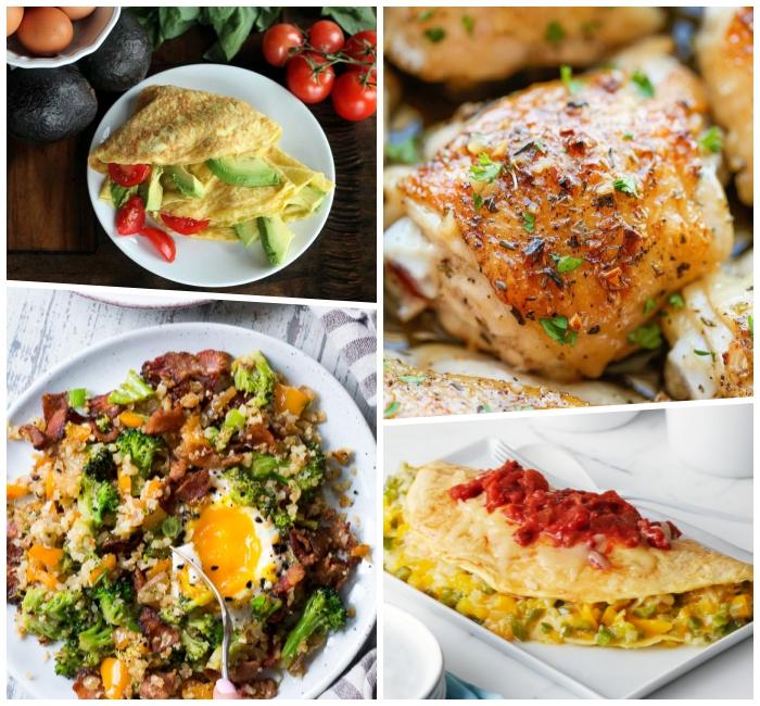 rezepte zum abnehmen, omelette mit tomaten und avocado, hühnerfleisch mit zitrone
