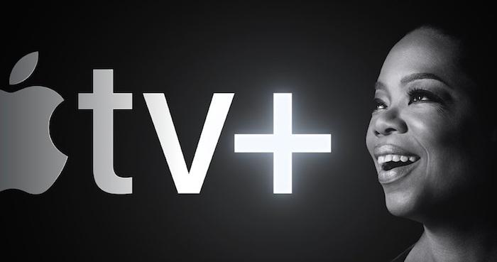 der logo von apple tv+ mit einem großen grauen apfel, der neue sreamingdienst apple tv plus, oprah