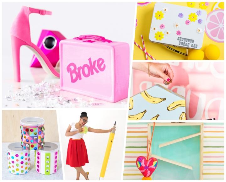 spardose basteln, diy anleitungen und ideen, rosa koffer, diy geschenke, weißes box dekoriert mit blüten, sparbox aus holz und plexiglass
