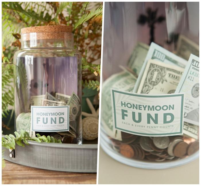 spardose basteln anleitung, glas mit großem kork, papiergeld und münzen sammeln
