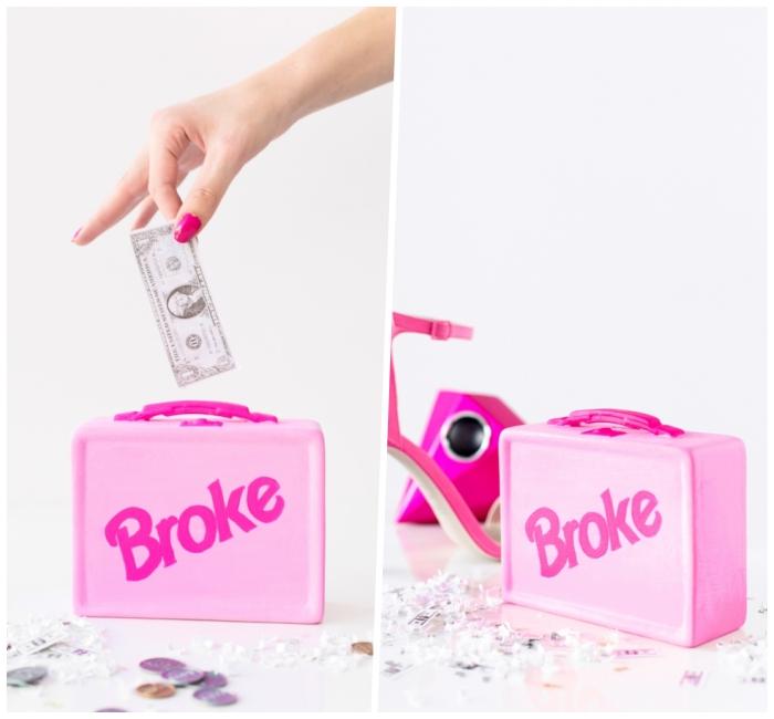 spardose basteln, rosa koffer, schuhe mit hohem absatz, diy geschenk für mädchen