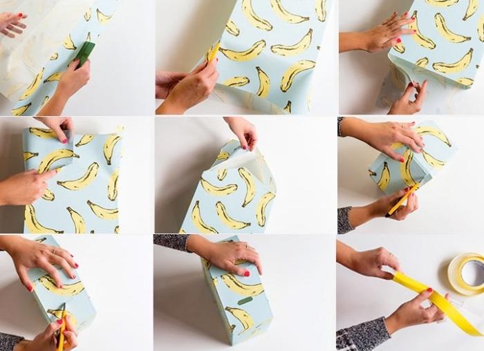 spardose basteln anleitung, papier mit bananen muster, box aus plexiglas mit dekopapier verzieren
