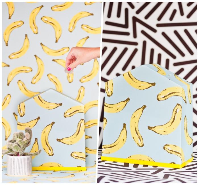 spardose basteln, kamouflage effekt, hellblaues papier mit bananen muster, kaktee