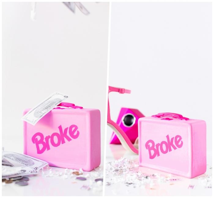 spardose basteln, rosa brotbüchse, sparbox selbst machen, geschenk für die beste freundin