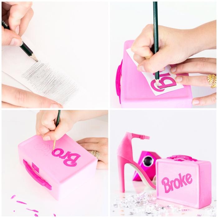 spardose basteln, rosa koffer, sparbox aus brotbüchse selber macen, weißes papier, bleistift