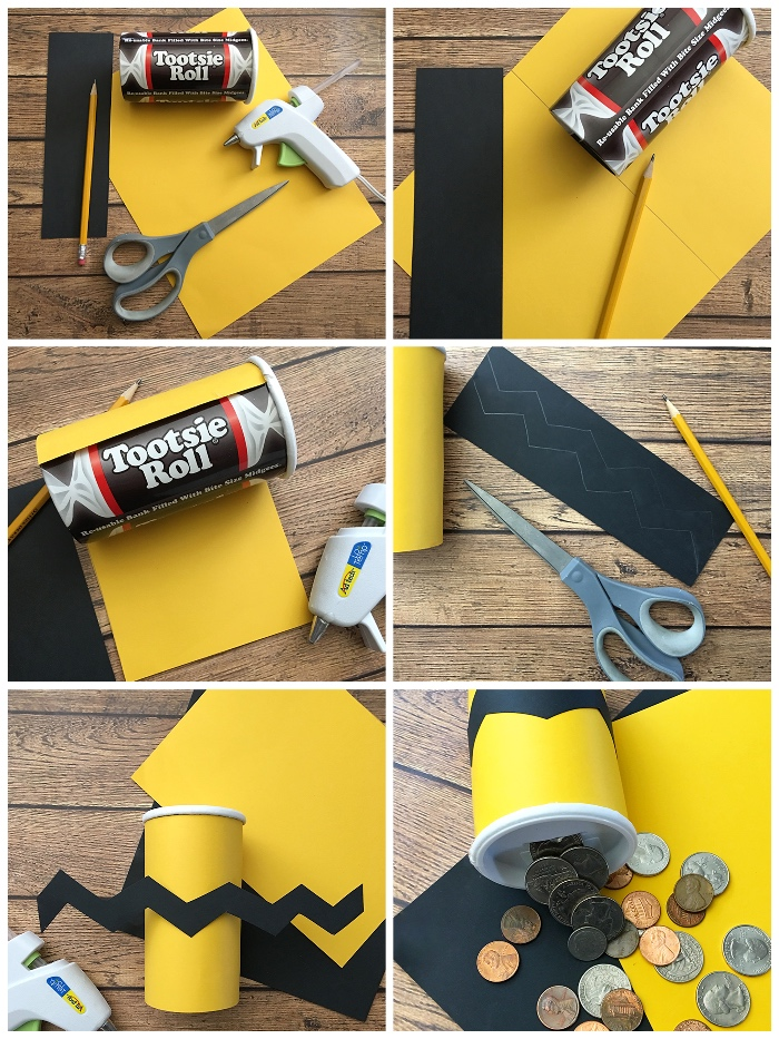 spardose kinder, zylinder aus karton, gelbes und schwarzes papier, geld sparen ideen