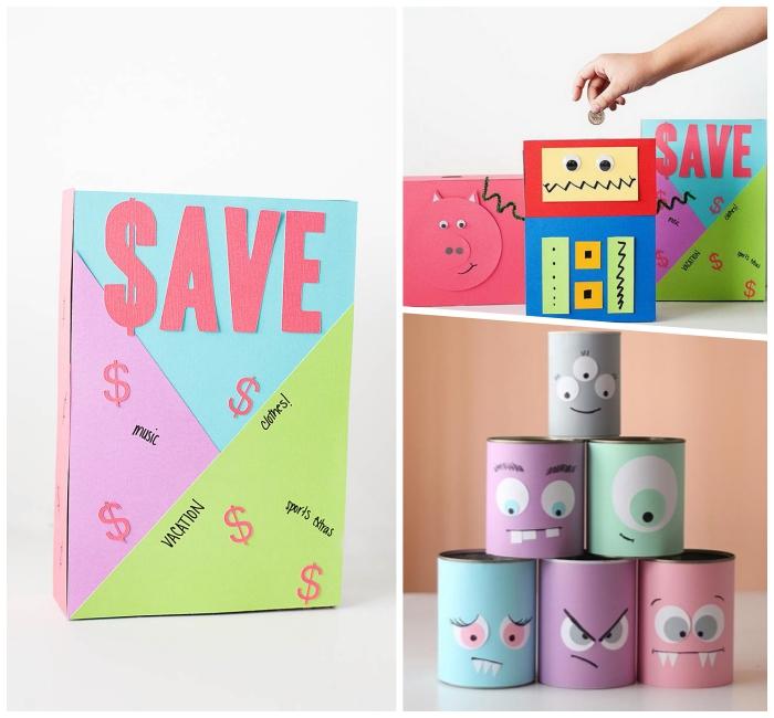 spardose kinder, selbstgemachte sparboxen aus konservendosen, große box aus pappe