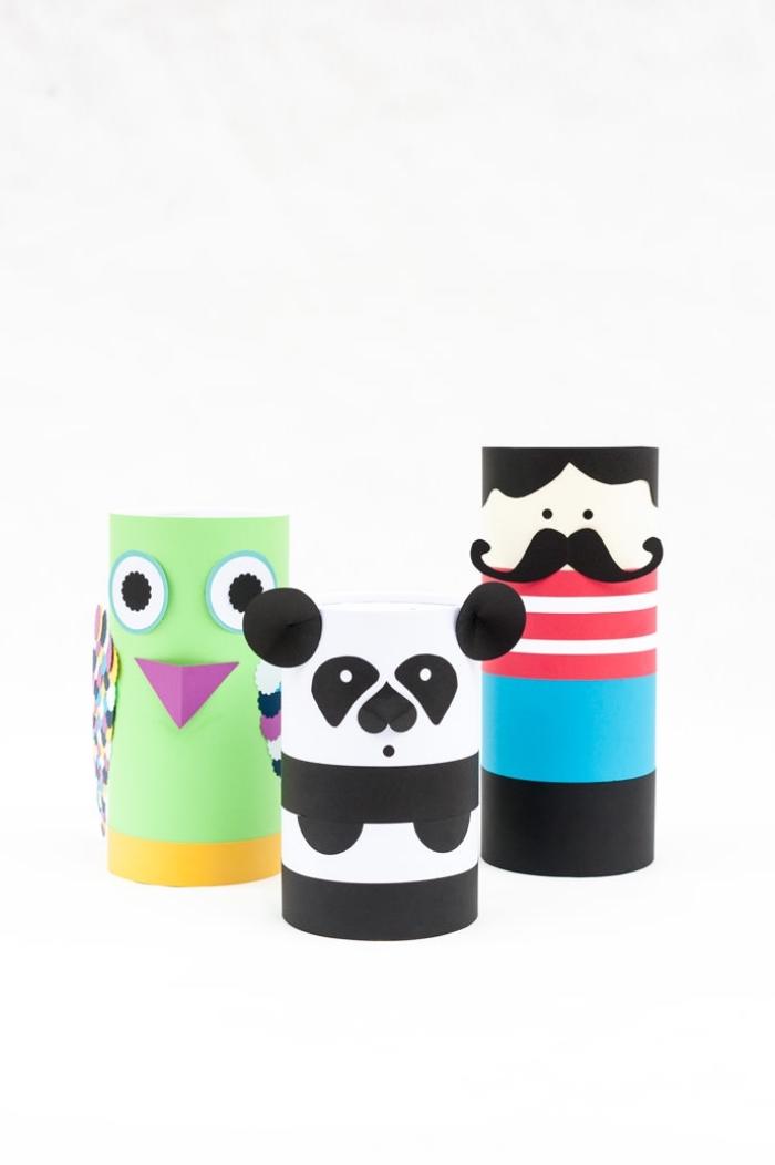 spardose kinder, selbstgemachte sparboxe aus papier, mann mit langem schnurrbart, grüner vogel, panda