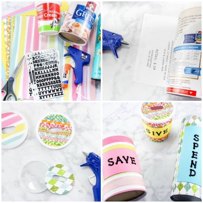 buntes papier, washi tapes, spardose kinder, verschlussdeckel aus kunststoff, sparboxe