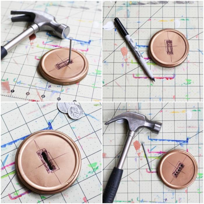 verschlussdeckel aus metall, loch machen, spardose selber basteln, schwarzer marker, hammer