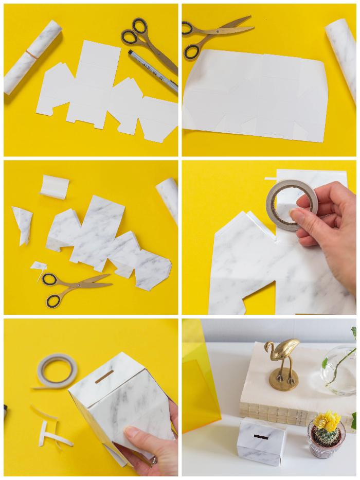 kleines haus aus bastelkaron selber machen, papier mit marmor muster, spardose selbst gestalten