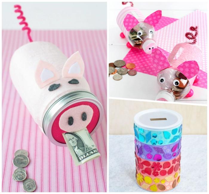 sparschwein aus einmachglas dekoriert mit rosa filzstoff, spardosen für kinder basteln aus plastikflaschen