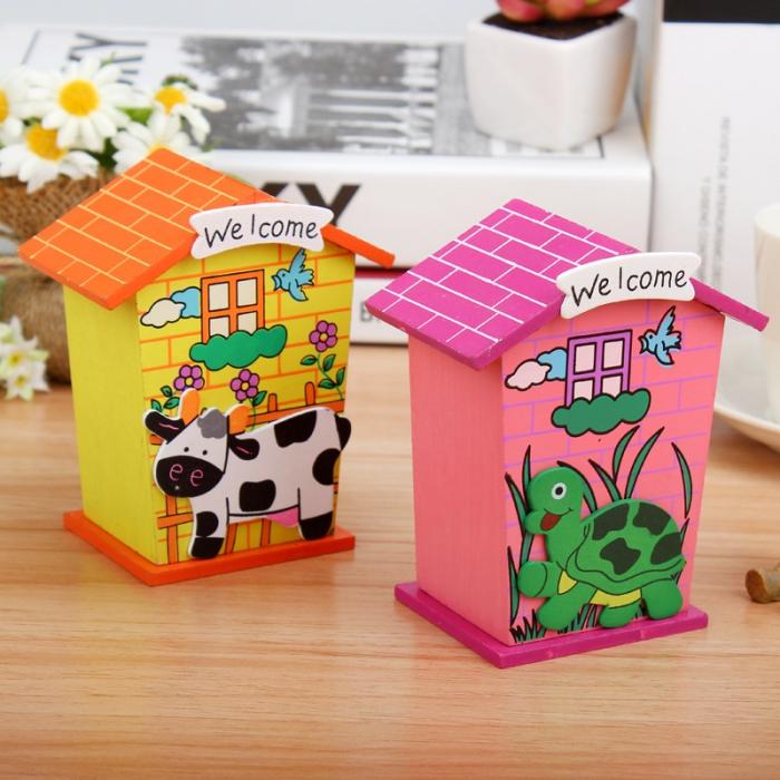 kleine bunte häuser aus cardstock, spardosen für kinder, landhäuser sparboxe