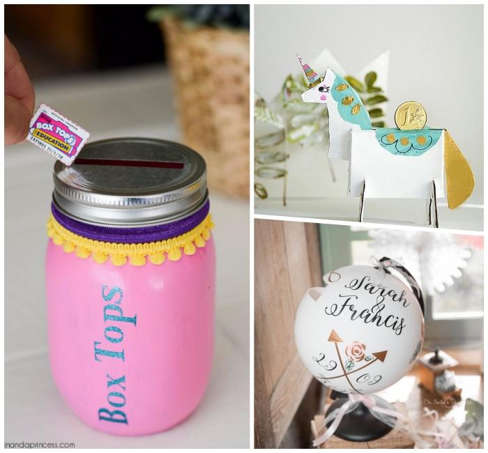 einmachglas dekoriert mit rosa farbe undspardosen für kinder selber machen, pomponband