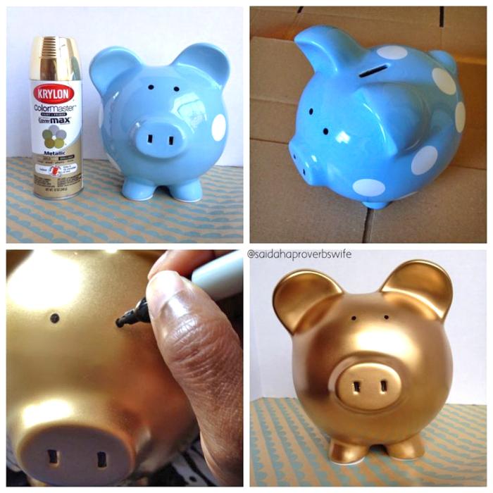 sparschwein groß, blauer schwein mit weißen punkten, goldene sprühfarbe, augen zeichnen
