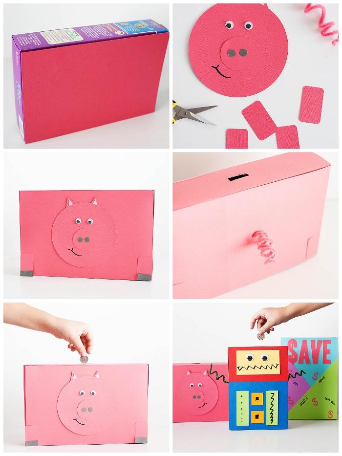box aus pappe dekoriert mit rosa papier, sparschwein groß, schweinkopf aus bastelkarton