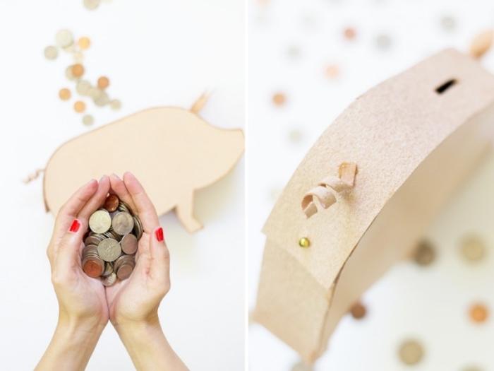 sparschwein groß, viele münzen, selbstgemachtes schwein aus pappe, roter nagellack