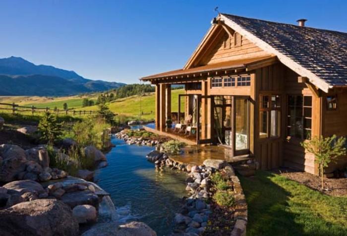 Design, Gartenhaus Ideen für Häuschen so wie in den Alpen, Teich, Gebirge, schönes Ausblick