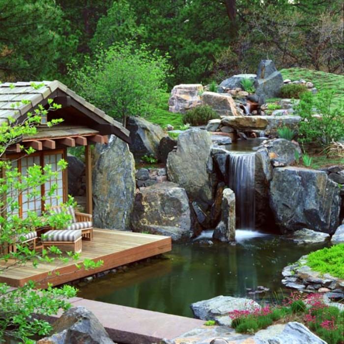 Design Gartenhaus, inspirierende Ideen, Wasserfall im eigenen Garten ist ein purer Luxus, Luxusholzhaus