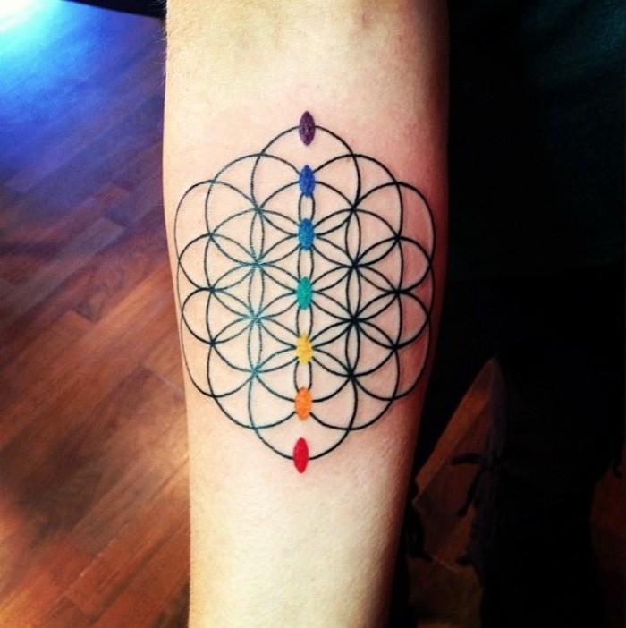 tattoo bedeutung in farben und gestaltung mit lebensblume und die chakras yoga tattoo
