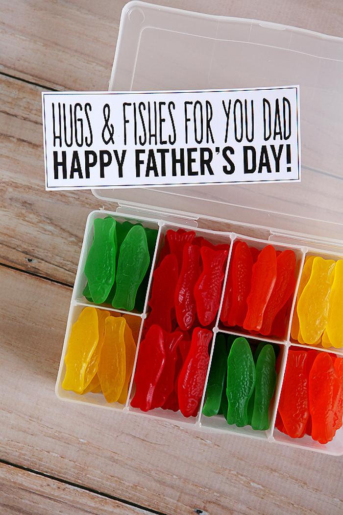 Schachtel voll mit bunten Gummifischen zum Vatertag schenken, lustige Geschenke für Väter