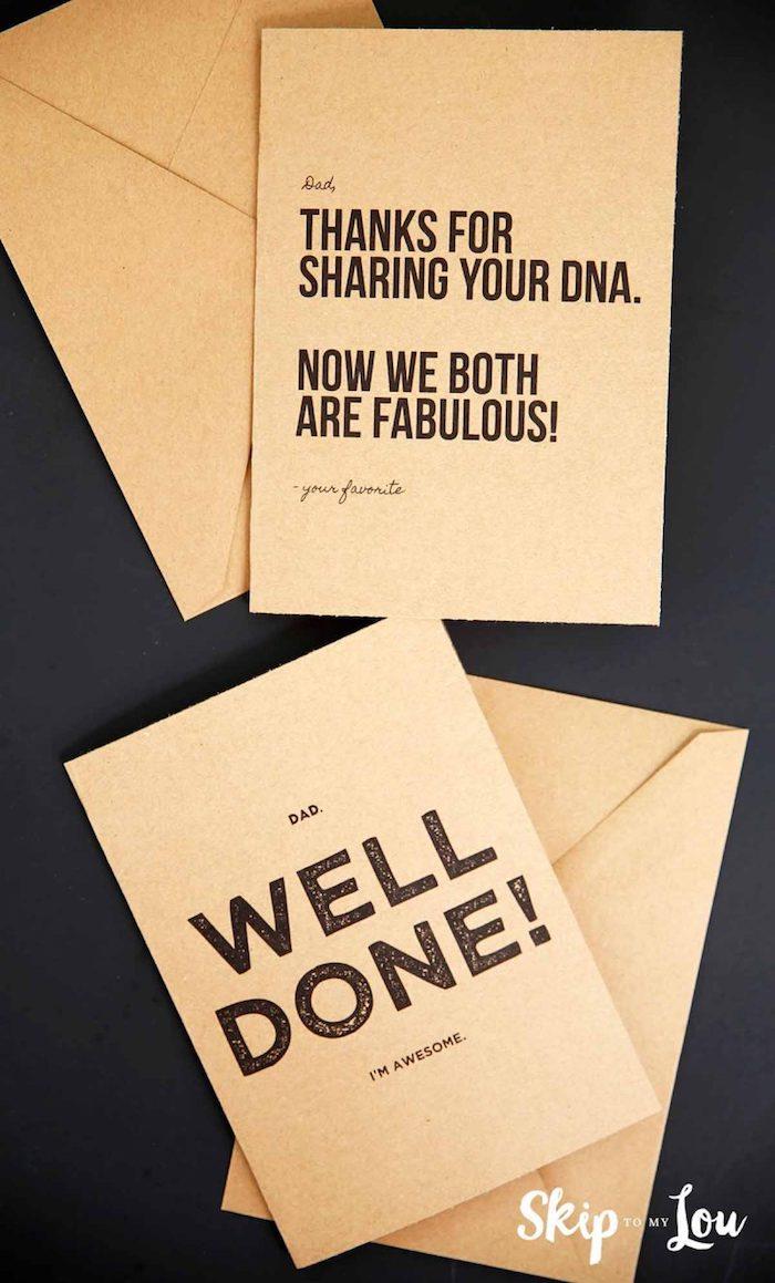 Grußkarten zum Vatertag selbst gestalten, mit lustigen Botschaften
