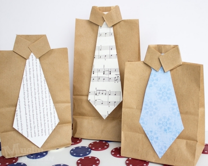 Tüten in Form von Hemden mit Krawatten selber machen, coole Bastelidee für Kleinkinder