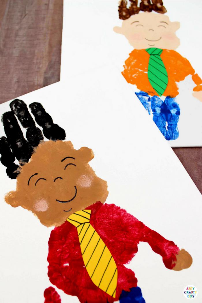 Handabdruck Bilder selber machen, Grußkarte zum Vatertag selber machen, Idee für Kleinkinder