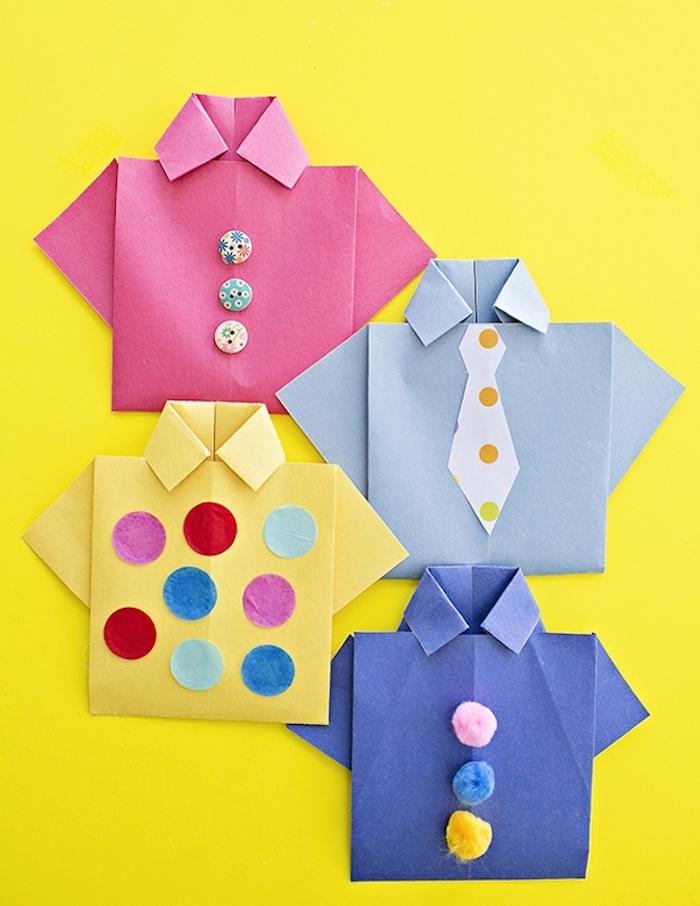 Kleine Hemden aus Papier selber machen, bunte Bommeln für Knöpfe, Bastelidee für Kleinkinder