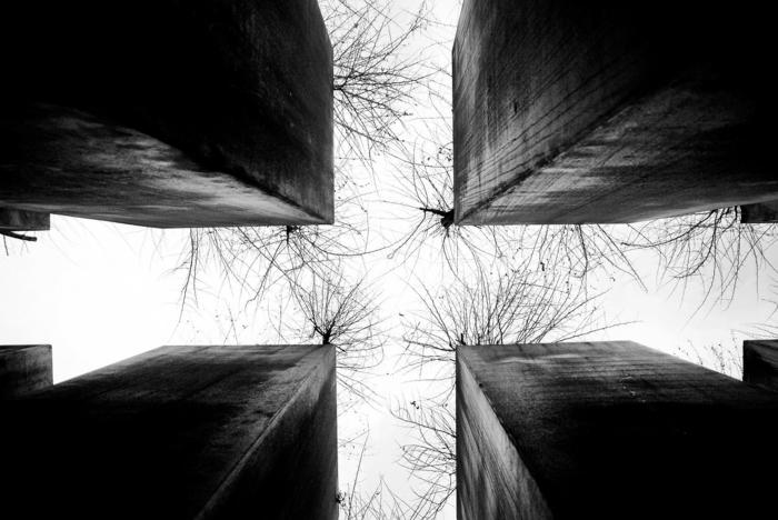 vier Gebäude in schwarzer Farbe, viele kleine Bäume, grauer Himmel, hübsche Bilder modern