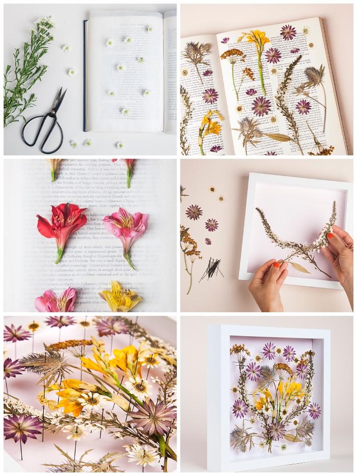 wanddeko selber machen, florales bild, getrocknete blüten, weißer bilderrahmen, muttertagsgeschenk