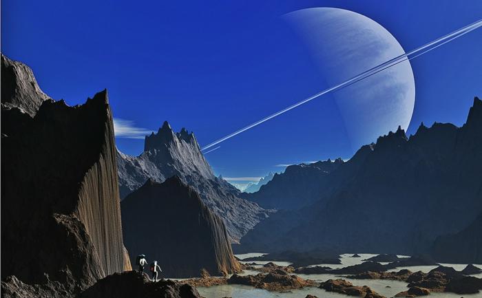 ein fantastisches Bild von Jupiter, eine Menge Bergen, und ein Planeten, zwei Raumfahrer