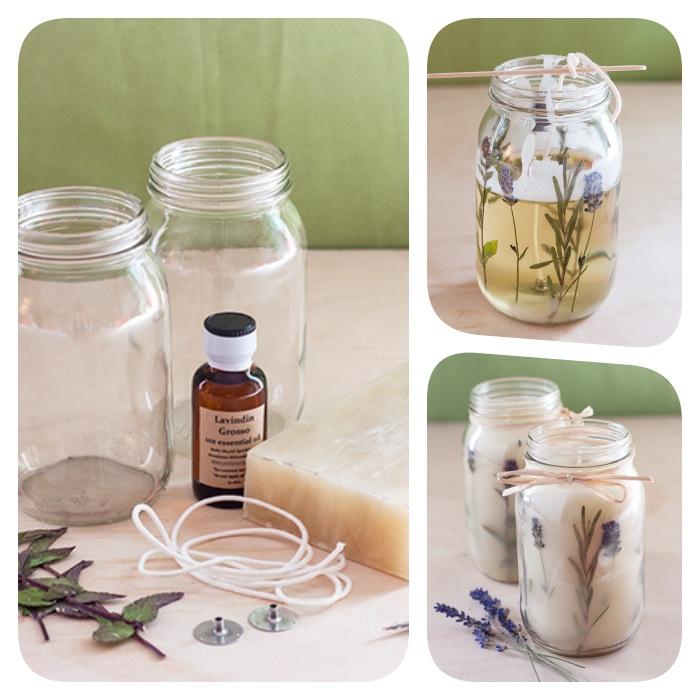 Kerzen selber gießen, Materialien und Anleitung, DIY Duftkerzen mit Lavendelblüten