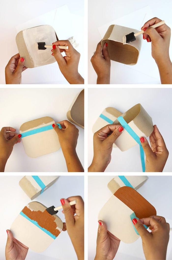 Glasuntersetzer selber machen in sechs Schritten, in Form von Fotoapparat, mithilfe Klebeband ausmalen