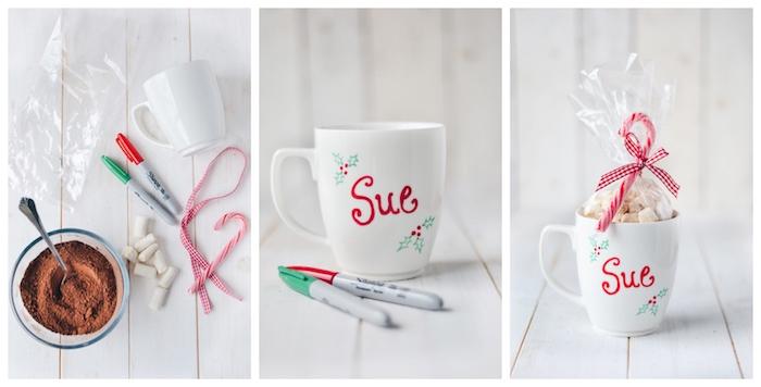 Kakao und Marshmallows in Tasse füllen, mit Permanentmarker personalisieren, mit Folie verpacken
