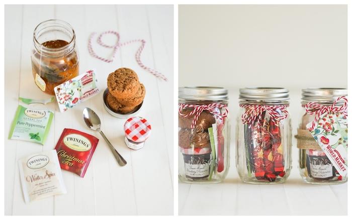 DIY Einmachgläser für Weihnachten, mit Tee, Muffins und Marmelade füllen, coole Geschenke zum Selbermachen