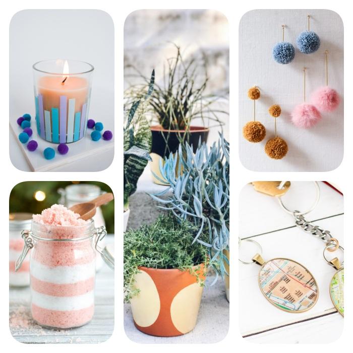 Ideen für DIY Geschenke, selbstgemachte Ohrringe, Schlüsselanhänger und Blumentöpfe, Windlicht und Badesalz