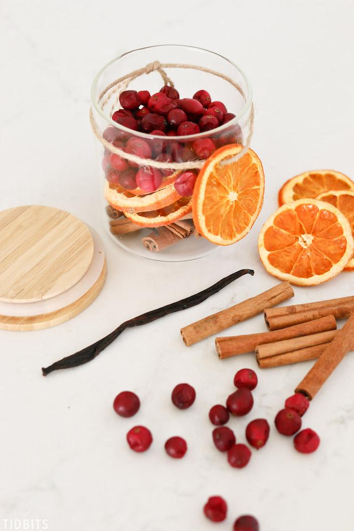 Lufterfrischer einfach selber machen, getrocknete Orangenscheiben, Beeren und Zimtstangen in Einmachglas aufbewahren