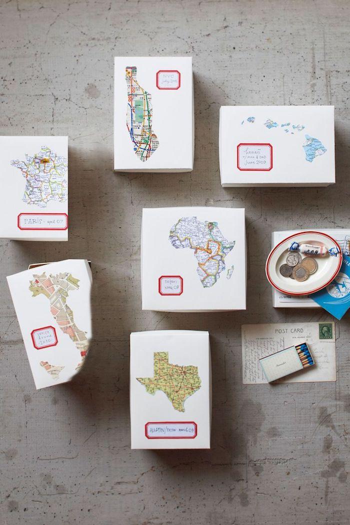 Schachteln mit Karten selber basteln, DIY Geschenkverpackung Ideen zum Selbermachen