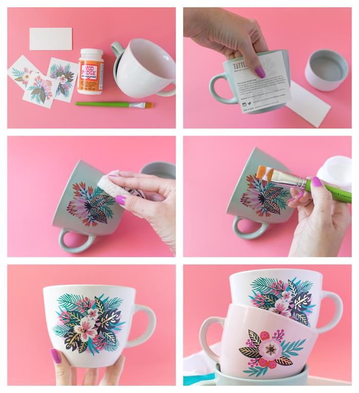 Weiße Tassen mit temporären Tattoos verzieren, Anleitung in sechs Schritten, Tassen mit Blumenmotiv