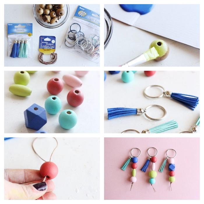Schlüsselanhänger selber machen, kleine Holzperlen mit Acrylfarben ausmalen und einfädeln