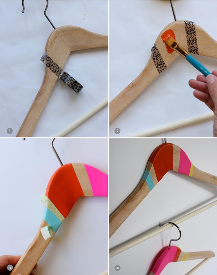 Kleiderbügel mithilfe Klebeband und Acrylfarben dekorieren, DIY Ideen zum Nachmachen