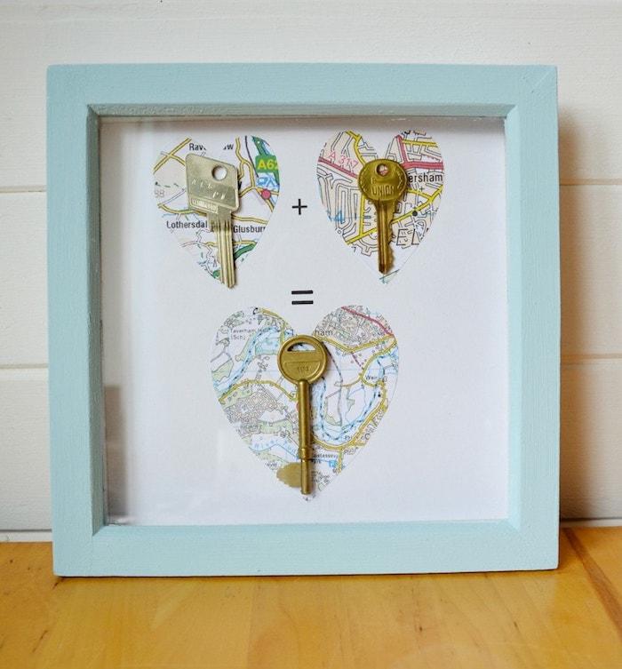 DIY Geschenkidee, Schlüssel in Rahmen, Herzen aus Karte ausschneiden