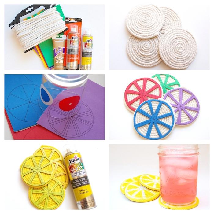 Glasuntersetzer in Form von Zitronenscheiben selber machen, mit Acrylfarben bemalen
