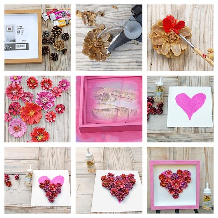 DIY Herz aus Tannenzapfen, mit roter Farbe bemalen , in Holzrahmen, Valentinstag Geschenk basteln